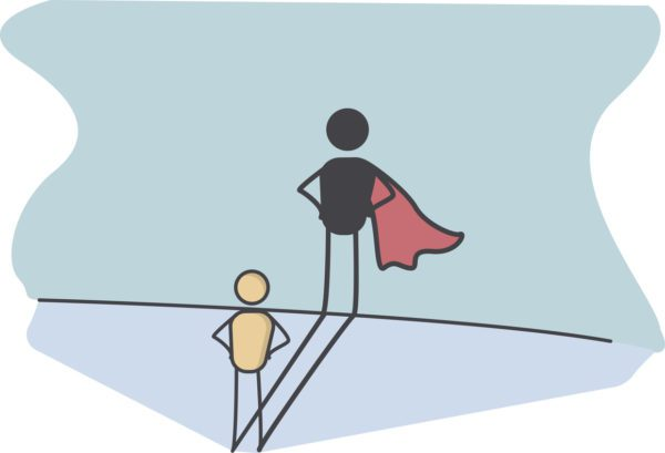 Illustration of confidence or superhero